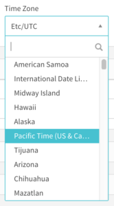 Time Zone: dropdown list with region/city options