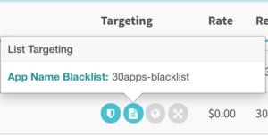 30apps-blacklist in the Targeting column