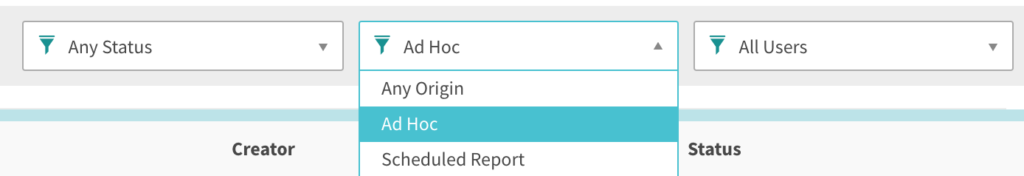 Filters for Status, Origin, and Users. Origin filter expanded to show Ad Hoc selected