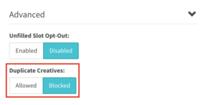 duplicate creatives blocked seelcted