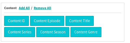 Content Macros on the export tag tab include ID, episode, title, season, series, and genre