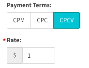 Payment terms of CPCV selected, with rate of $1