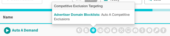 hover over snowflake targeting icon to see competitive exclusions advertiser domain list