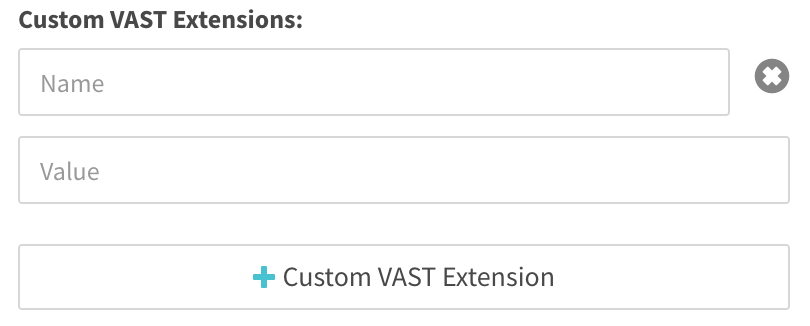 custom vast extension allows user to set the name and value of the vast extension