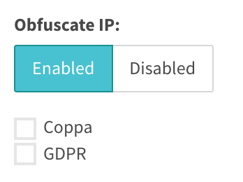Obfuscate IP displays Coppa and GDPR options
