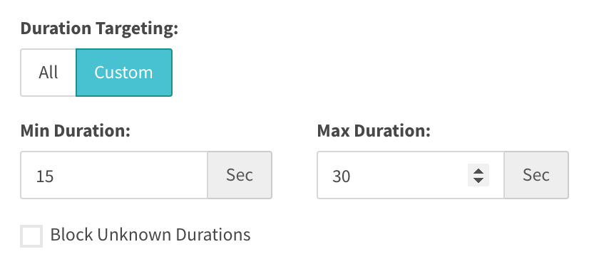 duration targeting for 15 to 30 seconds