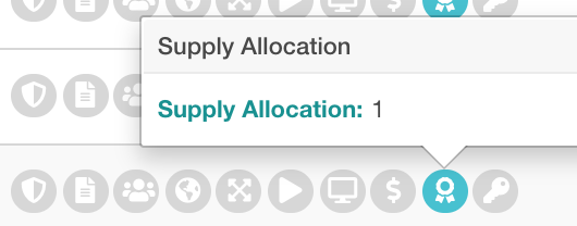 award icon is highlighted for a supply tag with supply allocation of 1