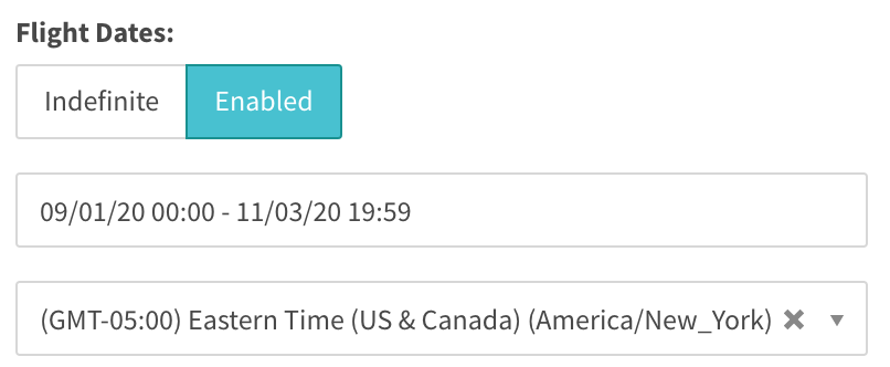 flight date targeting now displays timezone dropdown