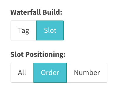 pillbox options for tag / slot waterfall build. slot positioning all / order / number