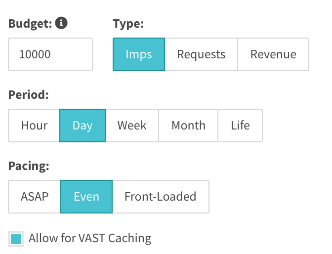 impression budget with checked allow for VAST caching