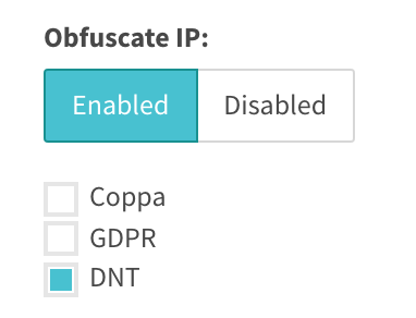 DNT checked when obfuscate IP address is enabled