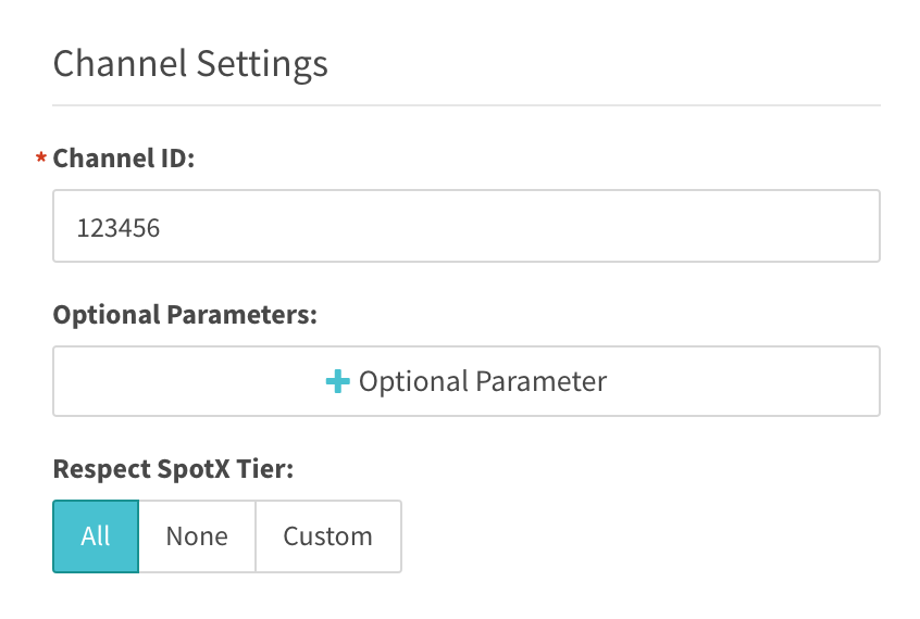 Channel settings enter channel ID and optional parameters