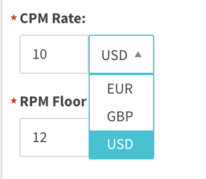 CPM rate with currency selector