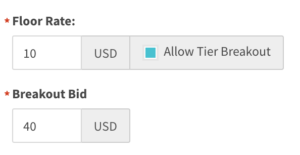 Allow tier breakout checked with breakout bid entry shown